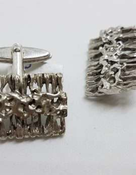 Vintage Costume Silver Plated Cufflinks – Rectangular