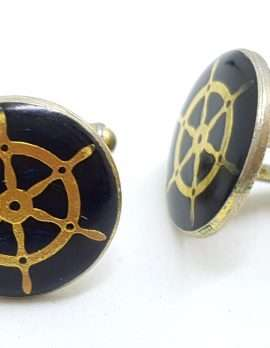 Vintage Costume Gold Plated Cufflinks – Round - Black Ships Wheel