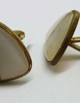 Vintage Costume Gold Plated Cufflinks - Triangular - White