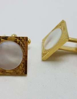 Vintage Costume Gold Plated Cufflinks - Round in Square - Mother of Pearl