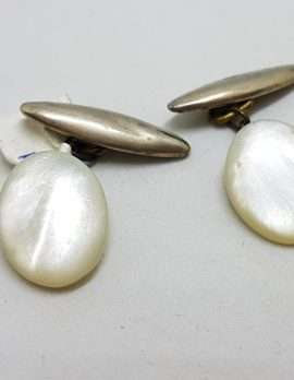 Vintage Costume Silver Plated Cufflinks - Oval - Mother of Pearl