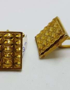 Vintage Costume Gold Plated Cufflinks - Square - Patterned