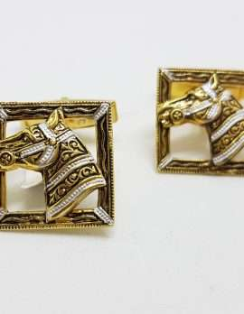 Vintage Costume Gold Plated Cufflinks - Square - Zebra / Horse