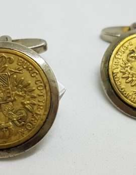 Vintage Costume Gold Plated & Silver Plated Cufflinks – Round - Coin Style
