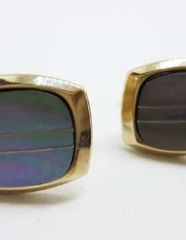 Vintage Costume Gold Plated Cufflinks - Rectangular - Blue / Grey