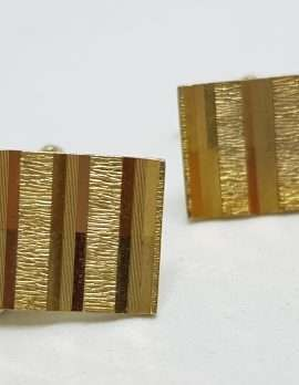 Vintage Costume Gold Plated Cufflinks - Rectangular - Line Pattern