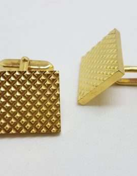 Vintage Costume Gold Plated Cufflinks - Rectangular - Patterned