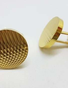 Vintage Costume Gold Plated Cufflinks - Round - Patterned