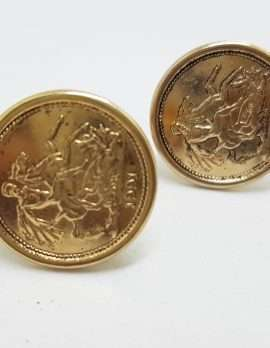 Vintage Costume Gold Plated Cufflinks - Round - Sovereign Coin Design