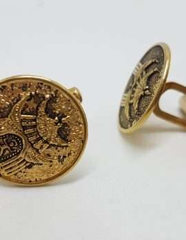 Vintage Costume Gold Plated Cufflinks - Round - Temple