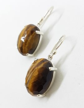 Sterling Silver Oval Faceted Claw Set Tiger Eye Drop Earrings