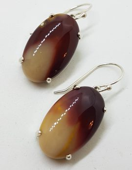 Sterling Silver Large Oval Claw Set Mookaite Drop Earrings