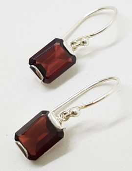Sterling Silver Rectangular Garnet Drop Earrings