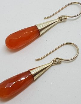 Sterling Silver Long Carnelian Teardrop in Cone Drop Earrings