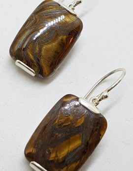 Sterling Silver Large Rectangular Tiger Eye Drop Earrings