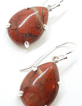 Sterling Silver Pear Shape Teardrop Claw Set Red Drop Earrings