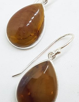 Sterling Silver Pear Shape Teardrop Bezel Set Mookaite Drop Earrings