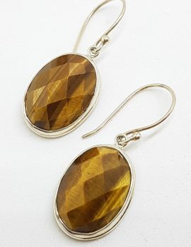 Sterling Silver Large Oval Faceted Bezel Set Tiger Eye Drop Earrings