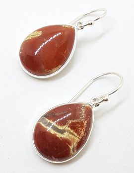 Sterling Silver Large Teardrop / Pear Shape Mookaite Drop Earrings