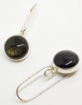 Sterling Silver Long Golden Obsidian Round Drop Earrings