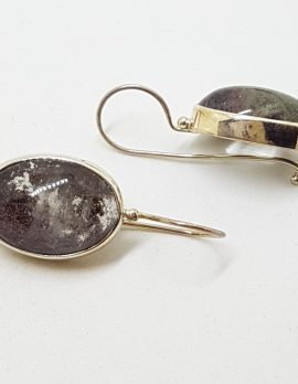 Sterling Silver Large Oval Phantom Quartz Drop Earrings