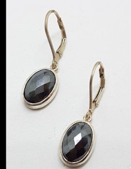Sterling Silver Faceted Oval Hematite Iron Ore Drop Earrings