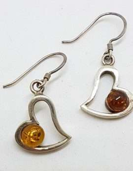 Sterling Silver Natural Baltic Amber Heart Drop Earrings