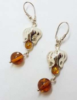 Sterling Silver Natural Baltic Amber Long Drop Earrings – Fuchsia / Flower