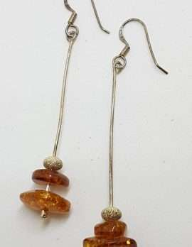 Sterling Silver Natural Baltic Amber Beads on Long Chain Drop Earrings - 1 Row