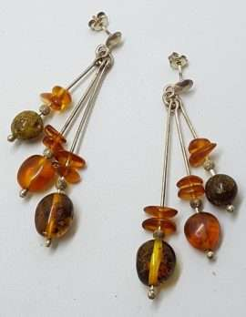 Sterling Silver Natural Baltic Amber Bead on Long Line Drop Earrings - 3 Row