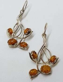 Sterling Silver Natural Baltic Amber Large and Long Cluster Twist Drop Earrings