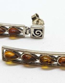 Sterling Silver Natural Baltic Amber Pear Shape Teardrops in Long Rectangular Drop Earrings