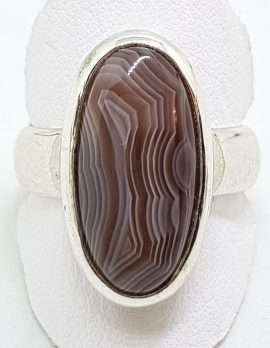 Sterling Silver Oval Bezel Set Agate Ring