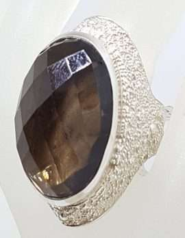 Sterling Silver Very Large & Heavy Oval Bezel Set and Patterned Smokey Quartz Ring