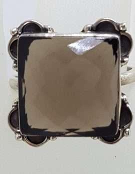Sterling Silver Large Square Bezel Set Ornate Smokey Quartz Ring