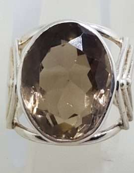 Sterling Silver Large Oval Arrow Design Bezel Set Smokey Quartz Ring