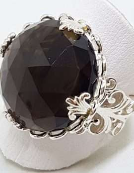 Sterling Silver Large Round Ornate Filigree Claw Set Smokey Quartz Ring