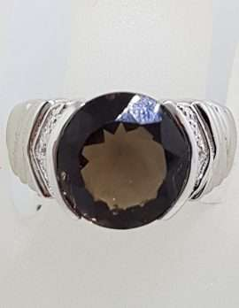 Sterling Silver Large Round Smokey Quartz and Cubic Zirconia Ring