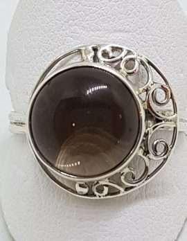 Sterling Silver Round Ornate Filigree Cabochon Cut Smokey Quartz Ring