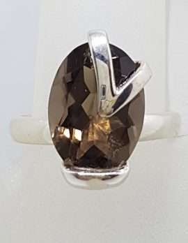 Sterling Silver Oval with Design Over Smokey Quartz Ring