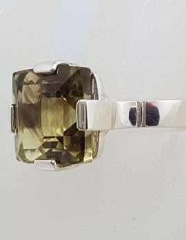 Sterling Silver Square Claw Set Smokey Quartz Ring