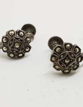 Sterling Silver Vintage Marcasite Screw-On Earrings - Round