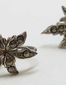 Sterling Silver Vintage Marcasite Screw-On Earrings - Leaves