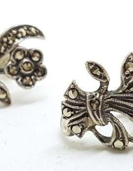 Sterling Silver Vintage Marcasite Screw-On Earrings - Flowers