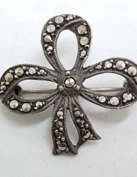 Sterling Silver Vintage Marcasite Brooch - Ribbon / Bow