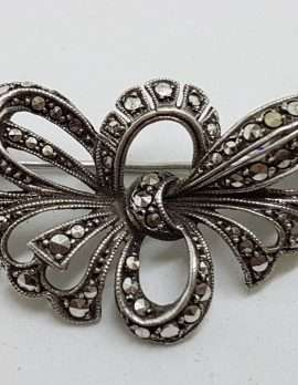 Sterling Silver Vintage Marcasite Brooch - Large Ornate Bow