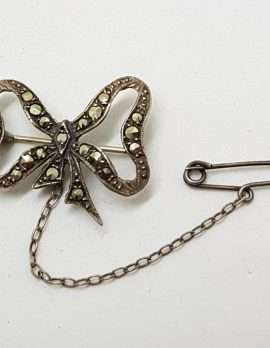Sterling Silver Vintage Marcasite Brooch – Bow