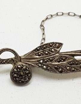 Sterling Silver Vintage Marcasite Leaf on Bar Brooch