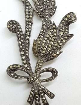 Sterling Silver Vintage Marcasite & Large Lily Floral Bouquet Brooch