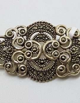 Sterling Silver Vintage Marcasite Brooch – Ornate